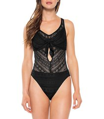 color play lace eyelet one-piece swimsuit