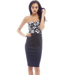 ax paris color contrast strapless bodycon dress
