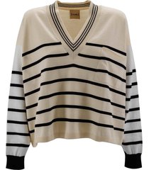 (nude) cotton striped sweater