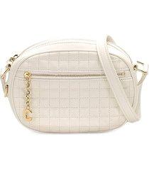 céline pre-owned pre-owned logo-charm crossbody bag - white