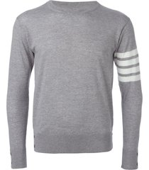 thom browne 4-bar merino pullover - grey