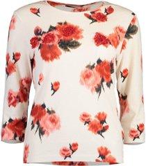pink floral crewneck pullover top