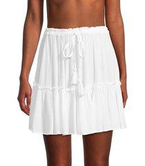 elan women's tiered mini skirt - denim - size m