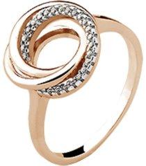anel elos cravejados cristais zirconias banhado a ouro rosé