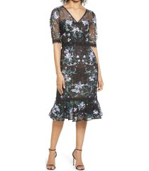 marchesa notte floral embroidered midi cocktail dress, size 4 in black at nordstrom