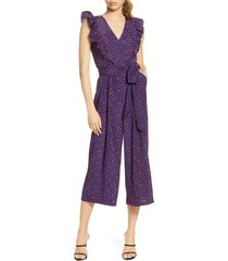 women's chelsea28 ruffle crop jumpsuit, size 10 - blue