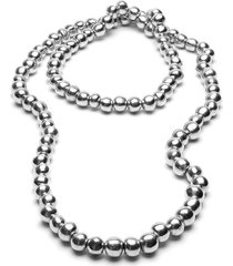 collar de mujer plateado 100 perlas by vestopazzo
