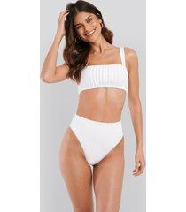 na-kd swimwear structured lace edge high waist bikini panty - white