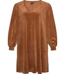 dress long plus puff sleeves velour v-neck dresses everyday dresses brun zizzi