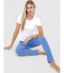 pijama malwee liberta botãµes branco/azul - branco - feminino - algodã£o - dafiti