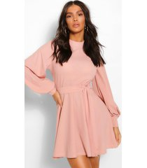 high neck balloon sleeve belted skater dress, rose