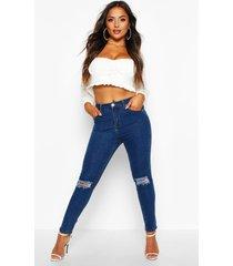 distressed skinny jeans met hoge taille in kleine maten, middenblauw