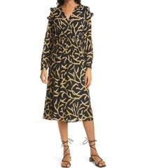 women's ba & sh candice wrap front long sleeve midi dress, size small - black