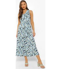 bloemenprint cullotte jumpsuit met ceintuur, blue