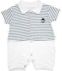macacã£o curto estilinho suedine bordado marinheiro branco - azul marinho - menino - algodã£o - dafiti