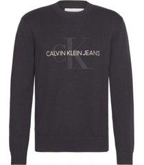 sweater monogram simple negro calvin klein