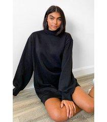 tall balloon sleeve open back sweatshirt dress, black