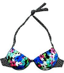 bikini estilo sostén clásico estampado negro samia