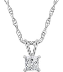 certified princess cut diamond solitaire pendant necklace (1/4 ct. t.w.) in 14k white gold or yellow gold