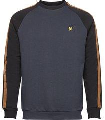colour block crew neck sweatshirt sweat-shirt tröja blå lyle & scott