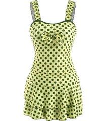 polka dot bowknot lettuce strap skirted tankini swimwear