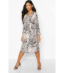 leopard wrap midi dress, brown