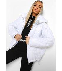 gewatteerde jas met capuchon en stiksels, wit