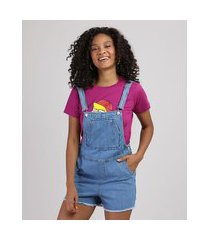 jardineira jeans feminina com bolsos e barra desfiada azul claro