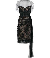 alexander mcqueen lace-panelled silk dress - black