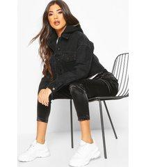 jersey hood jean jacket, washed black