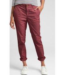 pantalon girlfriend mujer rojo gap