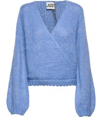 dolly wrap knit gebreide trui blauw just female