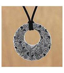 ceramic pendant necklace, 'flower lines' (thailand)
