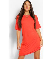lange effen t-shirtjurk, orange