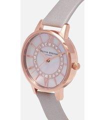 olivia burton women's wonderland sparkle midi watch - grey