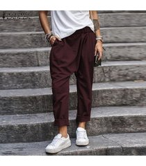zanzea mujeres elásticos de la cintura de los pantalones largos ocasionales llanura harem pantalones holgados -rojo