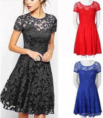 hot women short sleeve floral lace evening party cocktail short casual dress