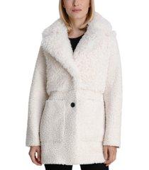 bcbgeneration mixed faux-fur teddy coat