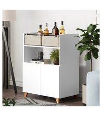 aparador bar multiuso be mobiliário drink 2 portas 2 cestos branco