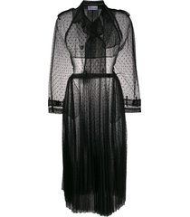 red valentino long point d'esprit tulle coat - black