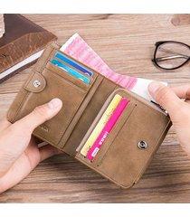 portafoglio trifold da taschino con tasca per monete multi-funzionale in vera pelle 13 per uomo
