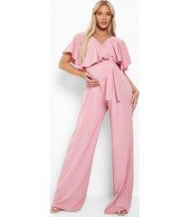 zwangerschap wide leg jumpsuit met franjes, pink