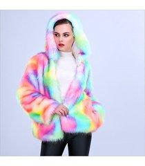 2017 new winter dreamy rainbow faux fur hood jacket loose women outerwear