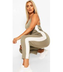 plus side strip jersey jumpsuit, khaki
