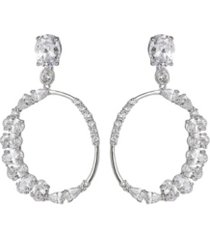 a & m silver-tone cluster round hoop earrings