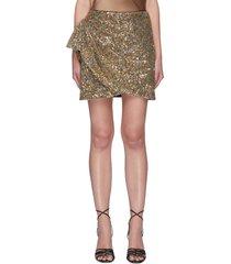 brilliance' wrap detail sequins embellished mini skirt