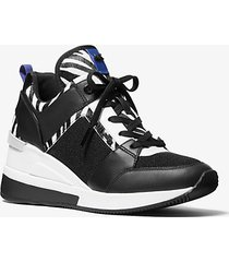 mk sneaker georgie in tela e pelle effetto cavallino con motivo zebrato - nero/bianco (nero) - michael kors