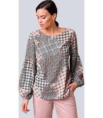 blouse alba moda roze::crème::zwart