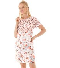 vestido aha tubinho flamingos off- white