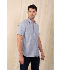 camisa manga corta algodón para hombre rayas